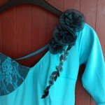robe turquoise detail